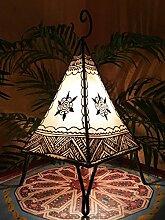 Orientalische Tischlampe Nilay 37cm Lederlampe Hennalampe Lampe | Marokkanische kleine Tischlampen aus Metall, Lampenschirm aus Leder | Orientalische Dekoration aus Marokko, Farbe Natur