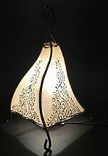 Orientalische Tischlampe Rahaf 35cm Lederlampe Hennalampe Lampe | Marokkanische kleine Tischlampen aus Metall, Lampenschirm aus Leder | Orientalische Dekoration aus Marokko, Farbe Natur