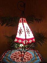 Orientalische Tischlampe Riham 50cm Lederlampe Hennalampe Lampe | Marokkanische kleine Tischlampen aus Metall, Lampenschirm aus Leder | Orientalische Dekoration aus Marokko, Farbe Natur, Ro