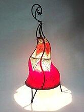 Orientalische Tischlampe Saba 50cm Lederlampe Hennalampe Lampe | Marokkanische kleine Tischlampen aus Metall, Lampenschirm aus Leder | Orientalische Dekoration aus Marokko, Farbe Orange, Natur, Ro