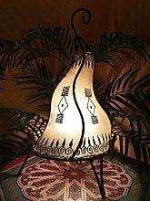 Orientalische Tischlampe Zeliha 42cm Lederlampe Hennalampe Lampe | Marokkanische kleine Tischlampen aus Metall, Lampenschirm aus Leder | Orientalische Dekoration aus Marokko, Farbe Natur