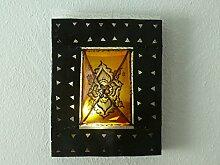 Orientalische Wand Leuchte Lampe Leder/ Eisen