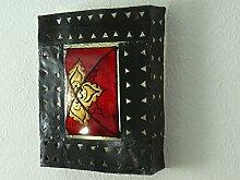 Orientalische Wand Leuchte Lampe Leder/ Eisen Marokko 35x30 cm