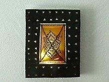 Orientalische Wand Leuchte Lampe Leder/Eisen
