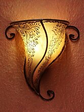 orientalische wandlampe aus leder rahaf natur