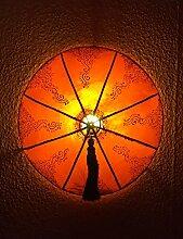 Orientalische Wandleuchte aus Leder Dilay Orange