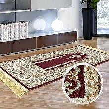 Orientalischer Gebets-Teppich Seccade Läufer Flachflor Wollmix Rot Beige Fransen 70x125 cm