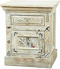 Orientalischer Holz Nachttisch Antara Weiß 60cm