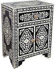 Orientalischer Holz Nachttisch Dilhan Schwarz
