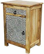 Orientalischer Holz Nachttisch Esat Braun 70cm