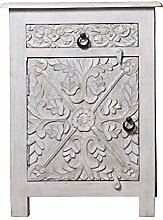 Orientalischer Holz Nachttisch Hasmia Shabby Weiss