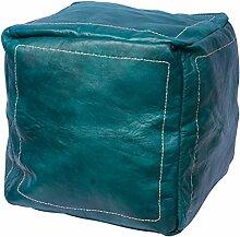 Orientalischer Sitz Pouf aus Leder 40x40cm grün,