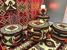 Orientalischer Tisch und Orientalische Hocker 3erSet aus Kelim mit Sicherheitsglas von Orient-Designs aus dem Arabischen Golf,Orientalische Sitzecke