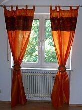 Orientalischer Vorhang Schlaufen Schal Stoff Fenster Deko Indien Bestickt 110 cm x 250 cm, Farbe orange