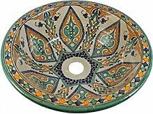 Orientalisches handbemaltes Keramik Waschbecken - Amir Keramik - Gemalt innen heraus Di 40 H 16 cm