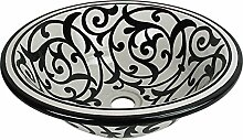 Orientalisches handbemaltes Keramik Waschbecken - Azrou Schwarz - Gemalt innen heraus Di 40 H 16 cm