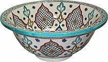 Orientalisches handbemaltes Keramik Waschbecken - Granada mehrfarbige - Gemalt innen heraus Di 40 H 16 cm