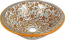 Orientalisches handbemaltes Keramik Waschbecken - Marrakesch Gelb Keramik - Gemalt innen heraus Di 40 H 16 cm