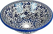 Orientalisches handbemaltes Keramik Waschbecken - Taros Grün - Gemalt innen heraus Di 40 H 16 cm