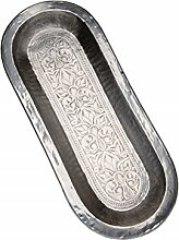 Orientalisches ovales Tablett aus Metall Nabil 63cm | Marokkanisches Teetablett in der Farbe Silber | Orient Silbertablett silberfarbig | Orientalische Dekoration auf dem gedeckten Tisch