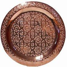 Orientalisches rundes Tablett aus Messing Mehdia