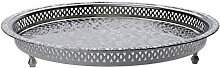 Orientalisches rundes Tablett aus Messing versilbert Nadia 37cm | Marokkanisches Teetablett in der Farbe Silber | Orient Silbertablett silberfarbig | Orientalische Dekoration auf dem gedeckten Tisch