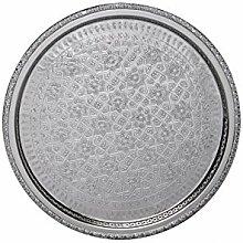 Orientalisches rundes Tablett aus Messing versilbert Nadia 42cm | Marokkanisches Teetablett in der Farbe Silber | Orient Silbertablett silberfarbig | Orientalische Dekoration auf dem gedeckten Tisch