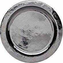 Orientalisches rundes Tablett aus Messing versilbert Paris 40cm | Marokkanisches Teetablett in der Farbe Silber | Orient Silbertablett silberfarbig | Orientalische Dekoration auf dem gedeckten Tisch