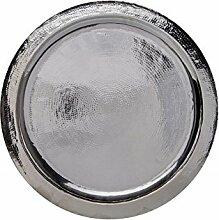 Orientalisches rundes Tablett aus Messing versilbert Paris 60cm | Marokkanisches Teetablett in der Farbe Silber | Orient Silbertablett silberfarbig | Orientalische Dekoration auf dem gedeckten Tisch