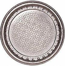 Orientalisches rundes Tablett aus Metall Amana 77cm | Marokkanisches Teetablett rund in der Farbe Silber | Orient Silbertablett silberfarbig | Orientalische Dekoration auf dem gedeckten Tisch