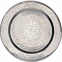 Orientalisches rundes Tablett aus Metall Ismail 58cm | Marokkanisches Teetablett in der Farbe Silber | Orient Silbertablett silberfarbig | Orientalische Dekoration auf dem gedeckten Tisch