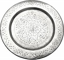 Orientalisches rundes Tablett aus Metall Khaliq 48cm | Marokkanisches Teetablett in der Farbe Silber | Orient Silbertablett silberfarbig | Orientalische Dekoration auf dem gedeckten Tisch