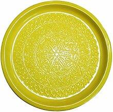 Orientalisches rundes Tablett aus Metall Tatmanur Gelb 40cm groß | Marokkanisches Teetablett Bunt | Orient Serviertablett Rund Rutschfest | Orientalische Dekoration auf dem gedeckten Tisch