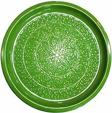 Orientalisches rundes Tablett aus Metall Tatmanur Grün 40cm groß | Marokkanisches Teetablett Bunt | Orient Serviertablett Rund Rutschfest | Orientalische Dekoration auf dem gedeckten Tisch (Grün)