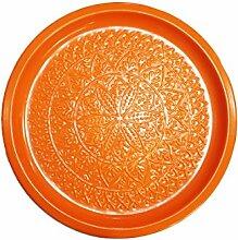 Orientalisches rundes Tablett aus Metall Tatmanur Orange 40cm groß | Marokkanisches Teetablett Bunt | Orient Serviertablett Rund Rutschfest | Orientalische Dekoration auf dem gedeckten Tisch