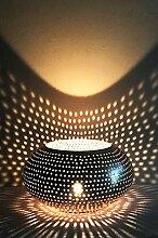 Orientalisches Windlicht Laterne orientalisch Metin 16cm Groß Silber | Orientalische Vintage Teelichthalter Silberfarben innen und außen | Marokkanische Windlichter aus Metall als Ostern Dekoration