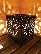 Orientalisches Windlicht Laterne orientalisch Randa 27cm Groß Schwarz | Orientalische Vintage Teelichthalter Schwarzfarben innen und außen | Marokkanische Windlichter aus Metall als Ostern Dekoration