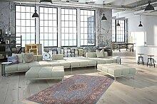 Orientteppich Flachflor Teppiche Medaillon Muster Blau Klassisch Teppich, Größe:160cm x 230cm