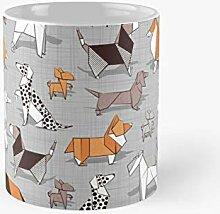 Origami Doggie Friends Grey Linen Texture