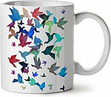 Origami Vogel Kunst Japan Kunst WeißTee KaffeKeramik Becher 11 | Wellcoda