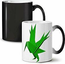 Origami Vogel Kunst Mode Schwarz Farbwechsel Tee Kaffee Keramisch Becher 11 oz | Wellcoda
