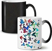Origami Vogel Kunst Schwarz Farbwechsel Tee Kaffee Keramisch Becher 11 oz | Wellcoda