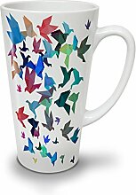 Origami Vogel Kunst Weiß Keramisch Latte Becher 17 oz | Wellcoda