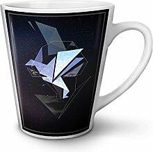 Origami Vogel Weiß Keramisch Latte Becher 12 oz | Wellcoda