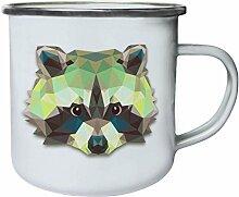 Origami Waschbär Tierliebhaber Neuheit Retro, Zinn, Emaille 10oz/280ml Becher Tasse o63e