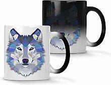 Origami Wolf Wasserfarben Farbwechsel 33 cl Tasse