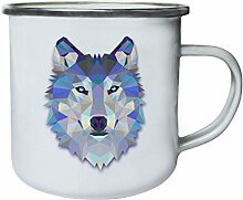 Origami Wolf Wasserfarben Retro, Zinn, Emaille 10oz/280ml Becher Tasse o56e