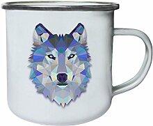 Origami Wolf Wasserfarben Retro, Zinn, Emaille