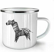 Origami Zebra Cool Tier Weiß Emaille-Becher 10 oz | Wellcoda