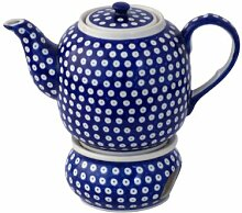 Original Bunzlauer Keramik Teekanne mit Stövchen